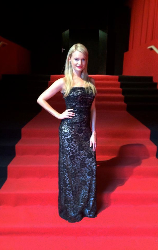 Supermodel Kelly Pantaleoni wearing JM Couture Black Label at the 2014 Cannes Film Festival red carpet.
