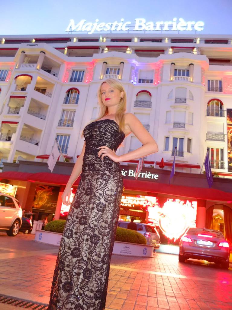 Supermodel Kelly Pantaleoni wearing JM Couture Black Label at the 2014 Cannes Film Festival.